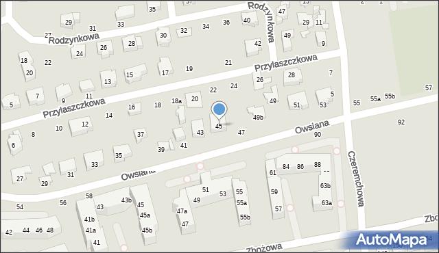 Toruń, Owsiana, 45, mapa Torunia