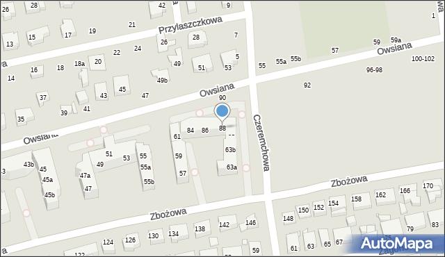 Toruń, Owsiana, 88, mapa Torunia