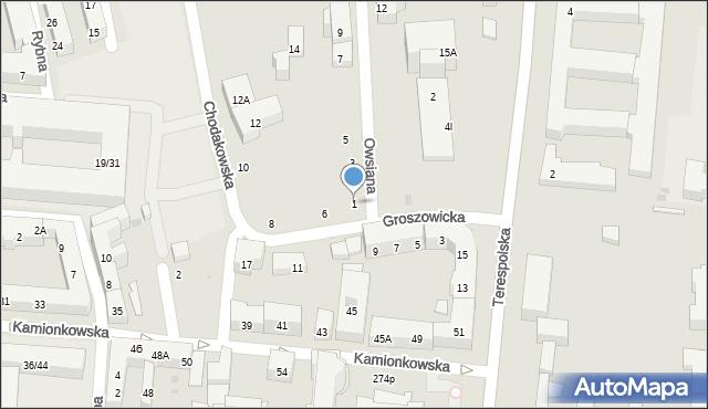 Warszawa, Owsiana, 1, mapa Warszawy