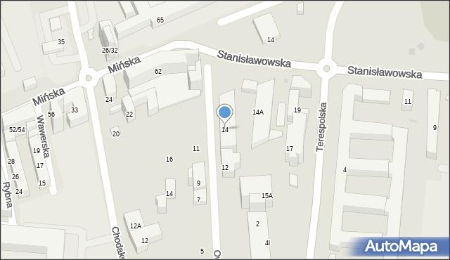 Warszawa, Owsiana, 14, mapa Warszawy
