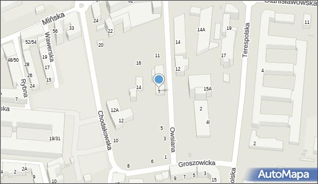 Warszawa, Owsiana, 7, mapa Warszawy