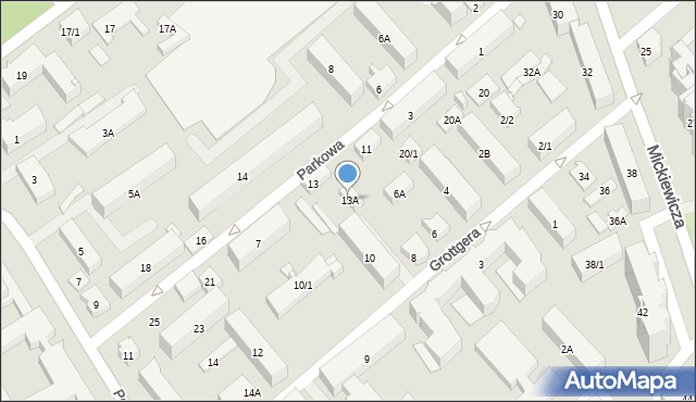 Białystok, Parkowa, 13A, mapa Białegostoku