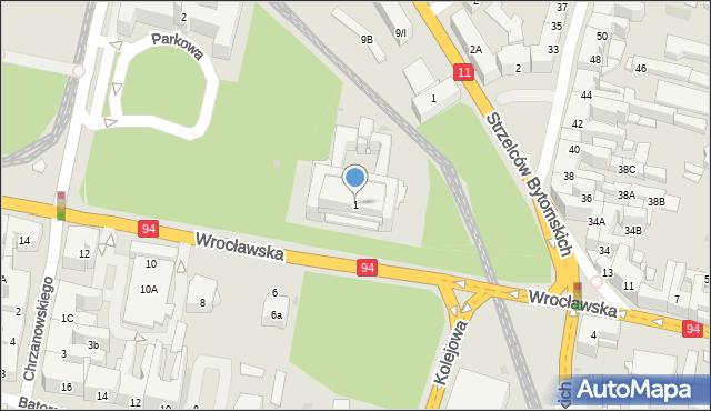 Bytom, Parkowa, 1, mapa Bytomia