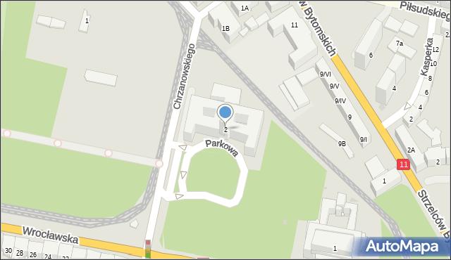 Bytom, Parkowa, 2, mapa Bytomia
