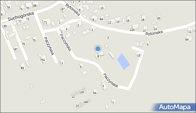 Bytom, Paczyńska, 8, mapa Bytomia