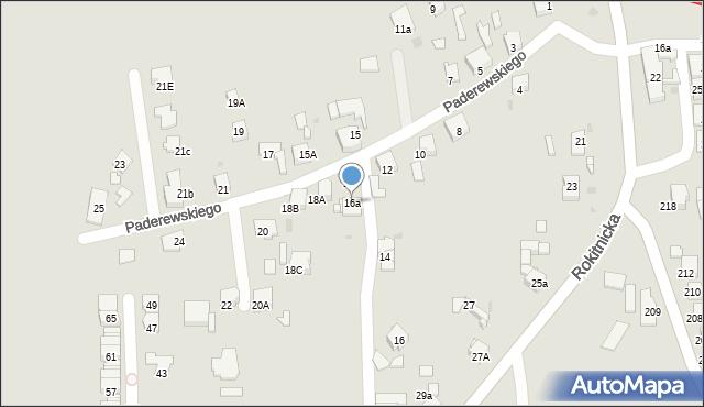 Bytom, Paderewskiego Ignacego Jana, 16a, mapa Bytomia