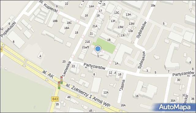 Chełm, Partyzantów, 1, mapa Chełma