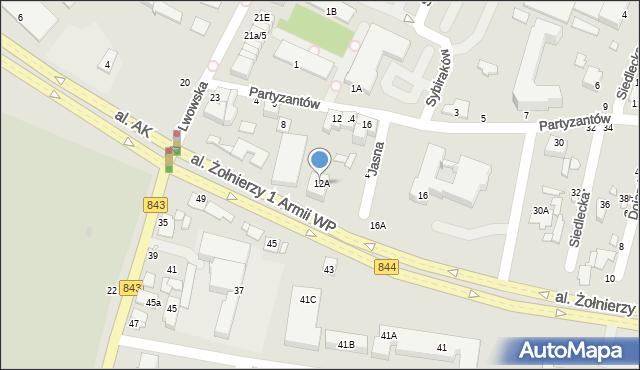Chełm, Partyzantów, 12A, mapa Chełma