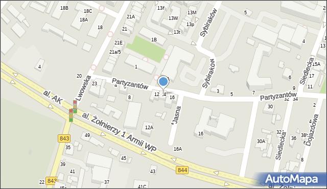 Chełm, Partyzantów, 14, mapa Chełma