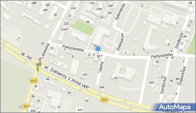 Chełm, Partyzantów, 16, mapa Chełma