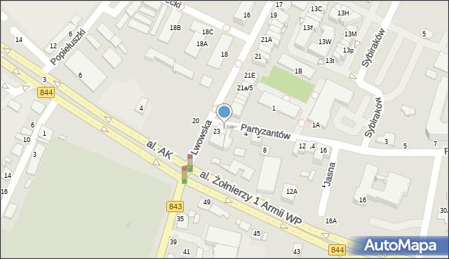 Chełm, Partyzantów, 2, mapa Chełma