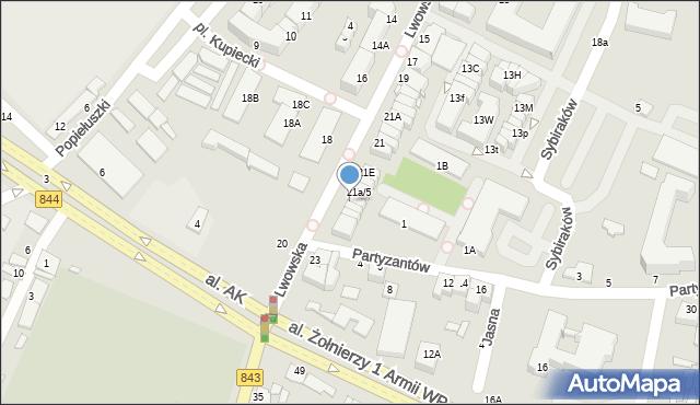 Chełm, Partyzantów, 21A/7, mapa Chełma