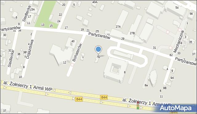 Chełm, Partyzantów, 52, mapa Chełma