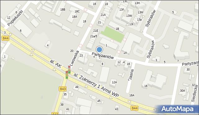 Chełm, Partyzantów, 6, mapa Chełma