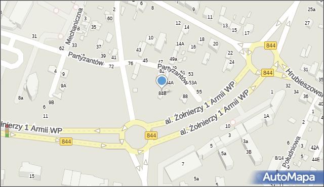 Chełm, Partyzantów, 84B, mapa Chełma
