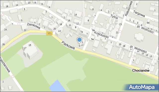 Chocianów, Parkowa, 1, mapa Chocianów