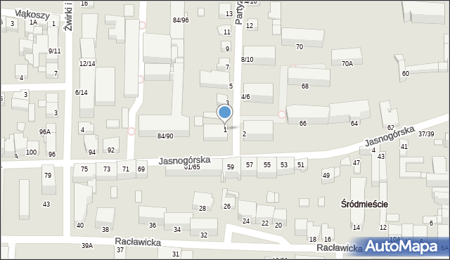 Częstochowa, Partyzantów, 1, mapa Częstochowy