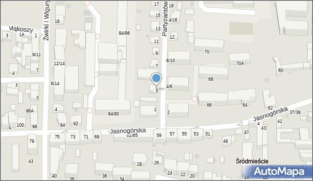 Częstochowa, Partyzantów, 3, mapa Częstochowy