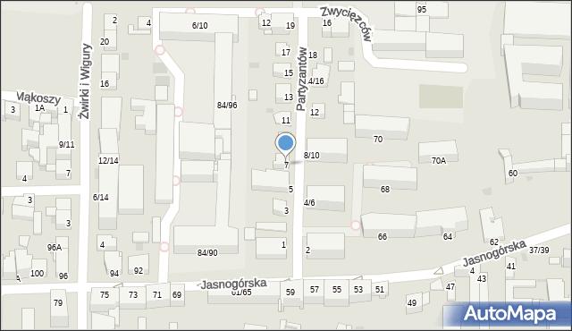 Częstochowa, Partyzantów, 7, mapa Częstochowy