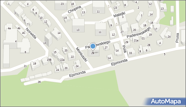 Gdynia, Paderewskiego Ignacego Jana, 29, mapa Gdyni