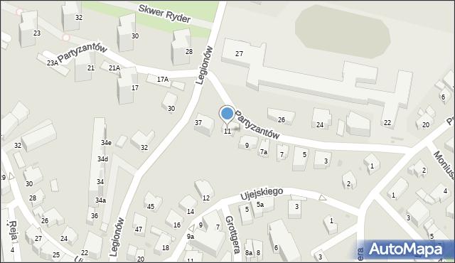 Gdynia, Partyzantów, 11, mapa Gdyni