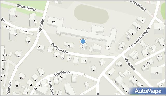 Gdynia, Partyzantów, 24, mapa Gdyni