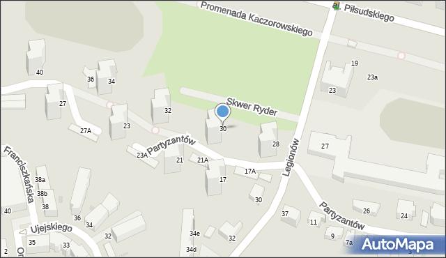Gdynia, Partyzantów, 30, mapa Gdyni