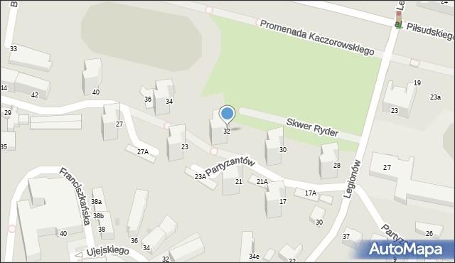 Gdynia, Partyzantów, 32, mapa Gdyni