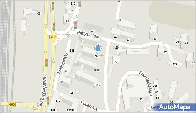 Gdynia, Partyzantów, 39II, mapa Gdyni