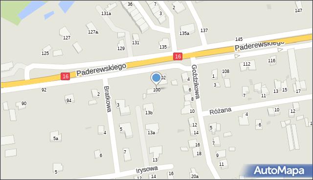 Grudziądz, Paderewskiego Ignacego Jana, 100, mapa Grudziądza