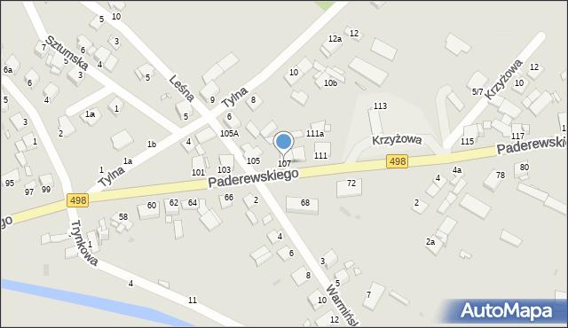 Grudziądz, Paderewskiego Ignacego Jana, 107, mapa Grudziądza