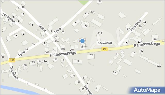 Grudziądz, Paderewskiego Ignacego Jana, 111, mapa Grudziądza