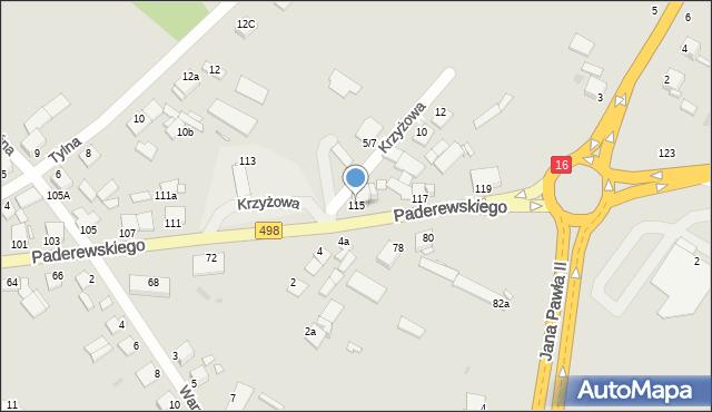 Grudziądz, Paderewskiego Ignacego Jana, 115, mapa Grudziądza