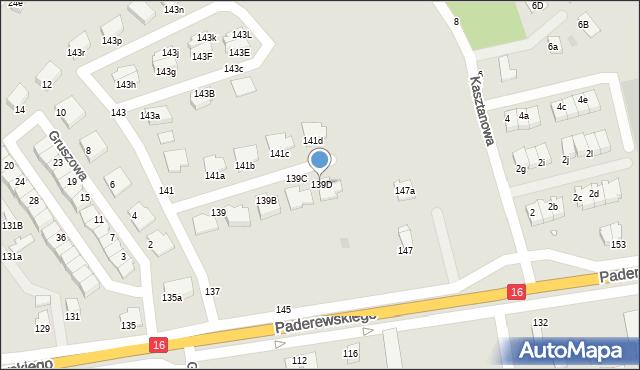 Grudziądz, Paderewskiego Ignacego Jana, 139D, mapa Grudziądza