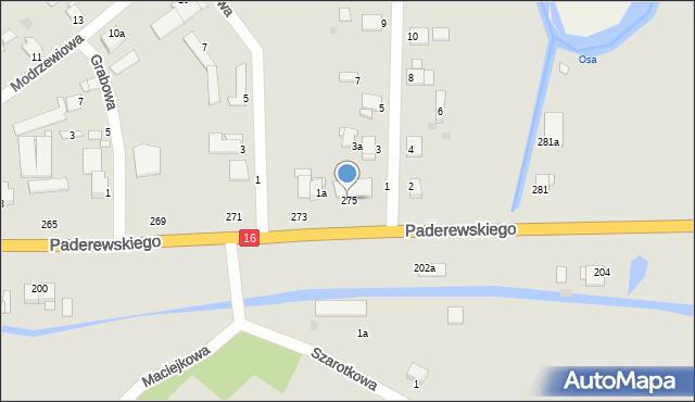 Grudziądz, Paderewskiego Ignacego Jana, 275, mapa Grudziądza