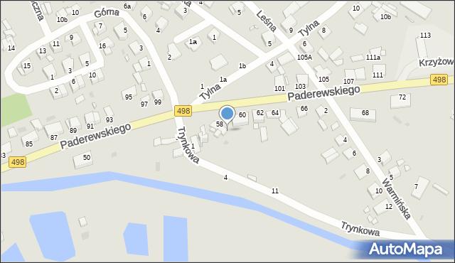 Grudziądz, Paderewskiego Ignacego Jana, 58a, mapa Grudziądza