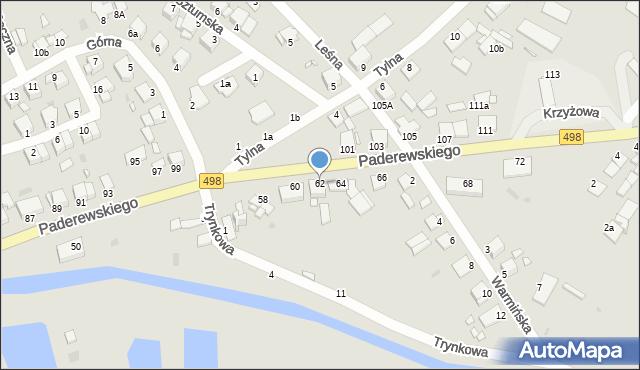 Grudziądz, Paderewskiego Ignacego Jana, 62, mapa Grudziądza