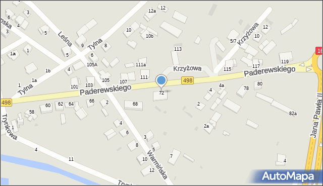 Grudziądz, Paderewskiego Ignacego Jana, 72, mapa Grudziądza