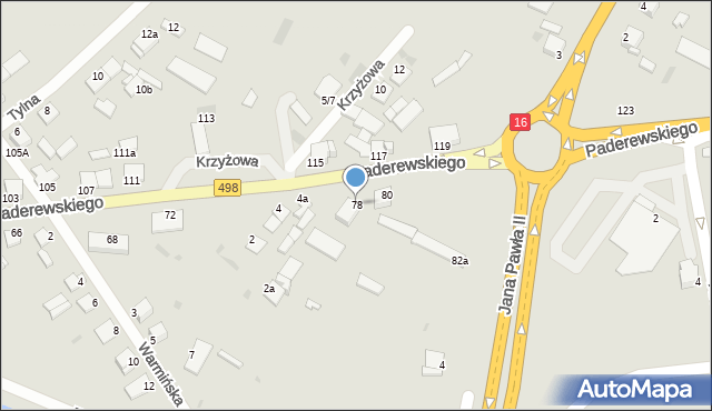 Grudziądz, Paderewskiego Ignacego Jana, 78, mapa Grudziądza