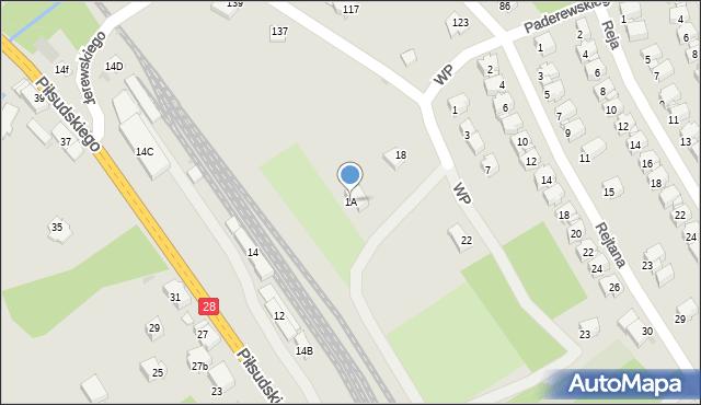 Limanowa, Partyzantów, 1A, mapa Limanowa