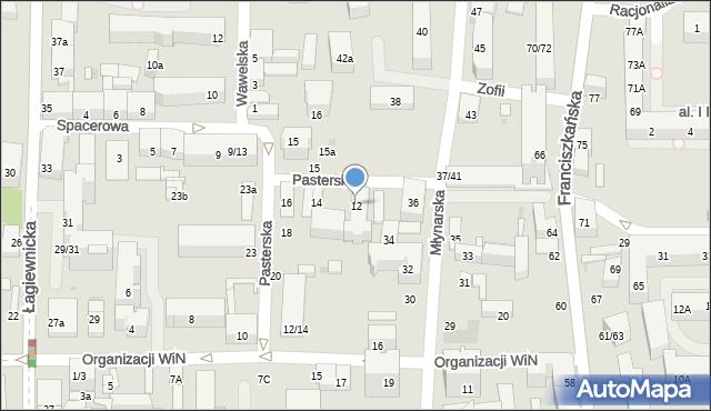 Łódź, Pasterska, 12, mapa Łodzi