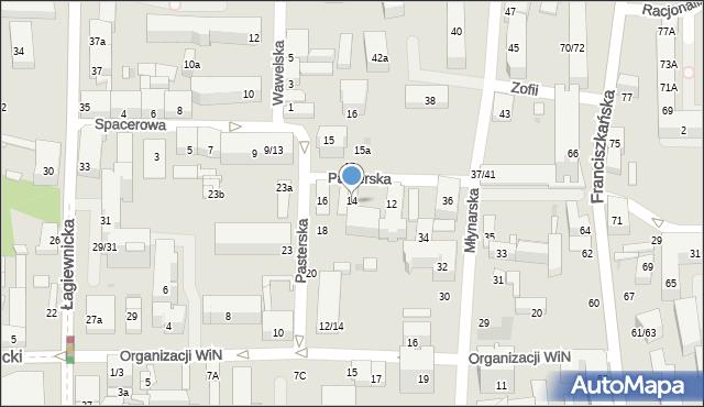 Łódź, Pasterska, 14, mapa Łodzi