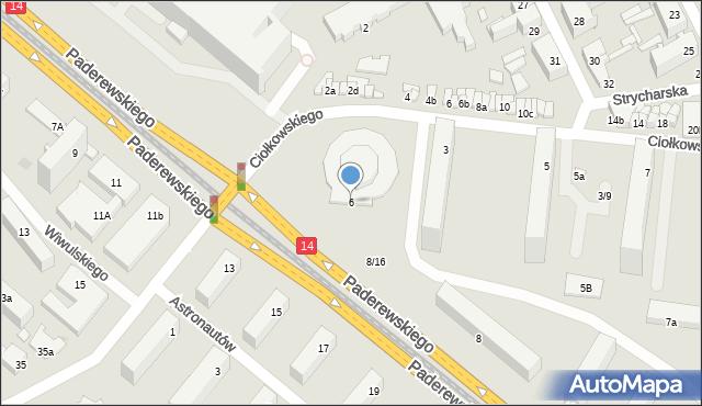 Łódź, Paderewskiego Ignacego Jana, 6, mapa Łodzi