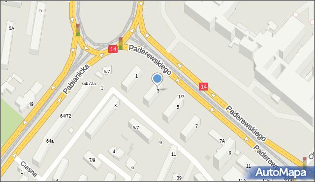 Łódź, Paderewskiego Ignacego Jana, 3, mapa Łodzi
