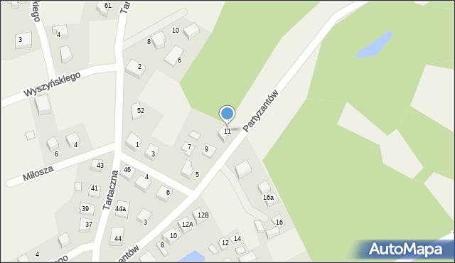 Luzino, Partyzantów, 11, mapa Luzino