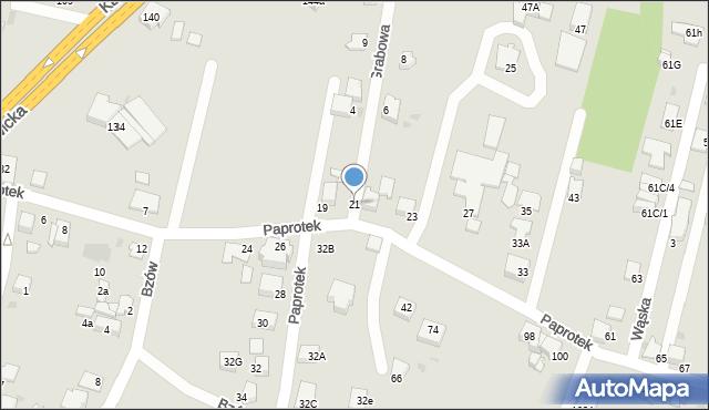 Mikołów, Paprotek, 21, mapa Mikołów