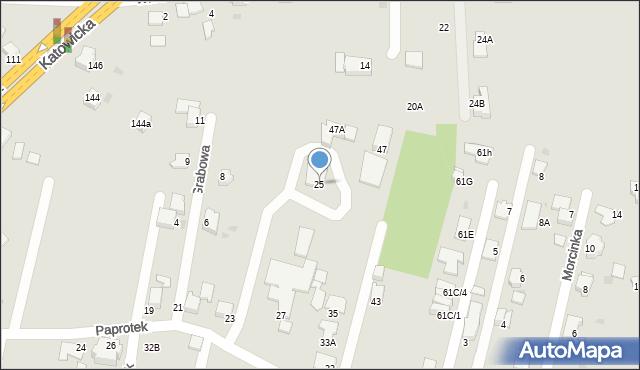 Mikołów, Paprotek, 25, mapa Mikołów