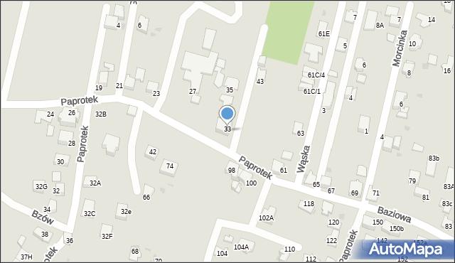 Mikołów, Paprotek, 33, mapa Mikołów