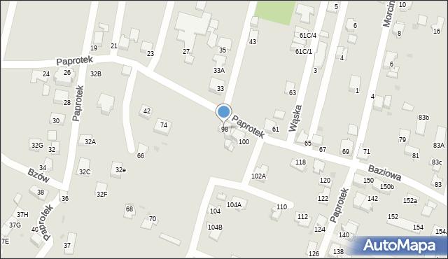 Mikołów, Paprotek, 98, mapa Mikołów