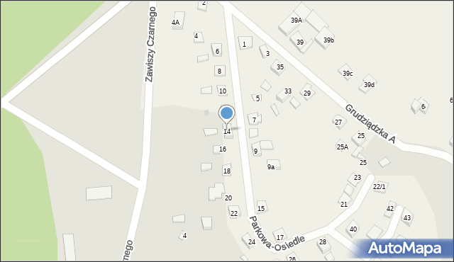 Nowa Wieś, Parkowa-Osiedle, 14, mapa Nowa Wieś
